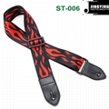 1.5M Length Thermal Transfer Pattern Thickened Leather Heads Folk Guitar Straps