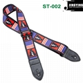 1.5M Length Thermal Transfer Pattern Thickened Leather Heads Folk Guitar Straps 3