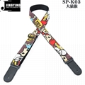 130CM Length Wash Water Cartoon Canvas Fabric PU Head Ukulele Straps