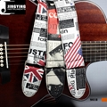 Wholesale China Made PU Material USA&UK Flag Poster Printing Folk Guitar Straps