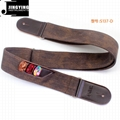 Vintage Denim Straps Leather Head Electric Guitar Straps with Guitar Pick Bags