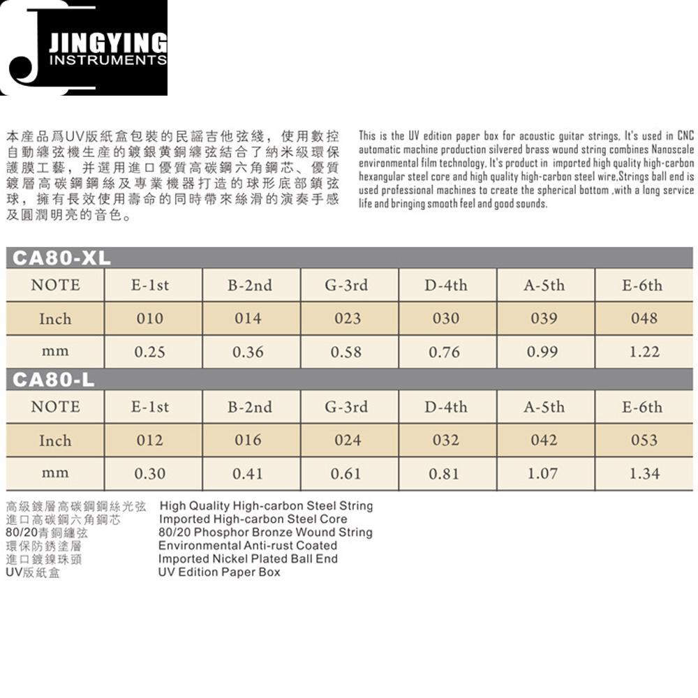 Inner Hexagon Steel Core 80/20 Phosphor Bronze Wound Acoustic Guitar Strings 3