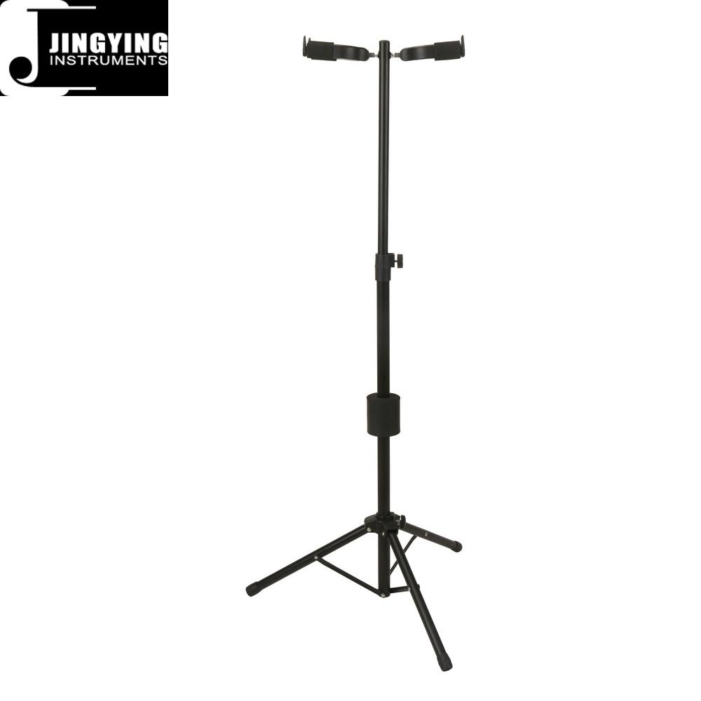 Wholesale Folding Vertical Two Heads Gravity Self-locking Guitar Stands