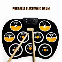 Highly Elastic Silicone Portable Electronic Drum,Hand Scroll Drum