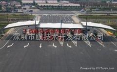 南京众彩物流出入口张拉膜结构