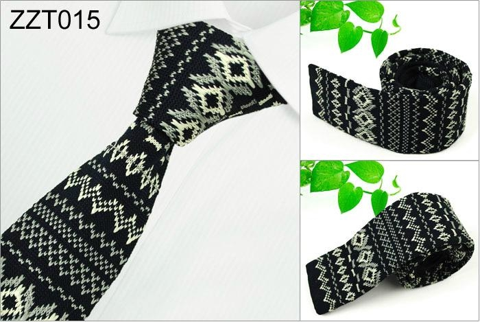 Flower Patterns Knitted Neckties 3