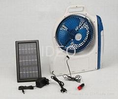 Solar power fan with emergency light