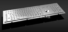 不锈钢金属工业键盘带轨迹球或触摸板KB6H