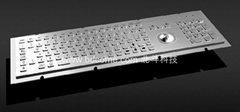 Industrial Stainless Steel Metal Kiosk Keyboard with Trackball or Touchpad KB6H