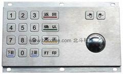 不鏽鋼金屬工業鍵盤數字小鍵盤帶軌跡球KB16A