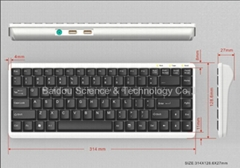 Laptop-type Industrial Keyboard KB8800 Built-in USB Hub and PS/2 port for mouse