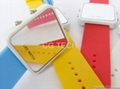 Pop fasion mirror LED digital silicon sports watch