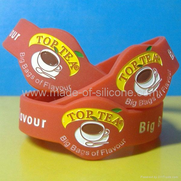 Watch Shape Color Filled Silicone Wristbands 4