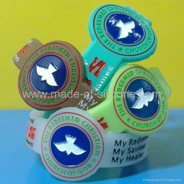 Watch Shape Color Filled Silicone Wristbands 1