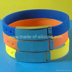 FBM002 Silicone Wristbands with metal