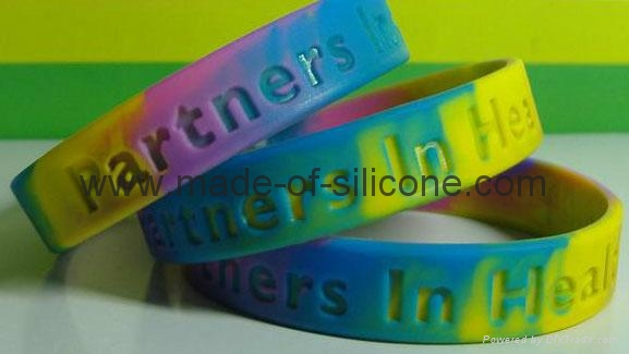 Swirled Color Debossed Silicone Wristbands 3