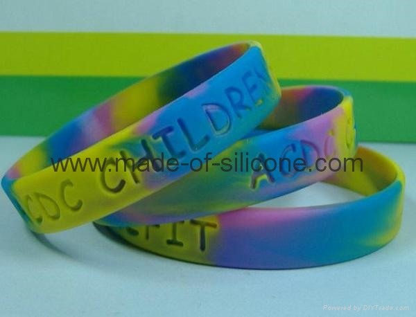 Swirled Color Debossed Silicone Wristbands 5