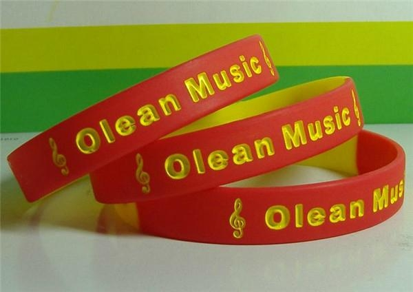 12mm Segmented  Color Debossed Ink Filled Silicone Wristbands 3