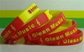 12mm Segmented  Color Debossed Ink Filled Silicone Wristbands