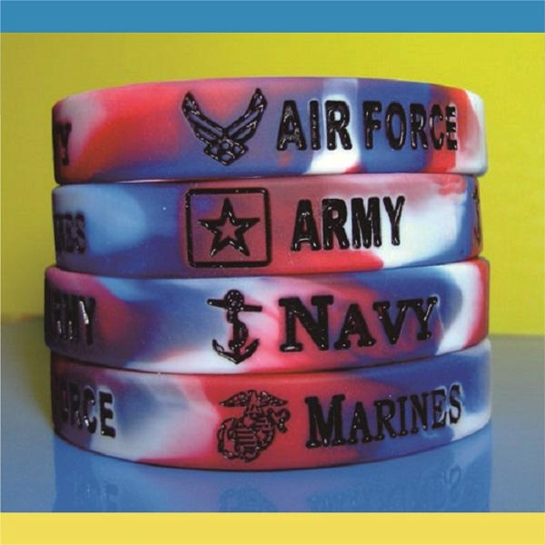 12mm Mixed  Color Debossed Ink Filled Silicone Wristbands 1
