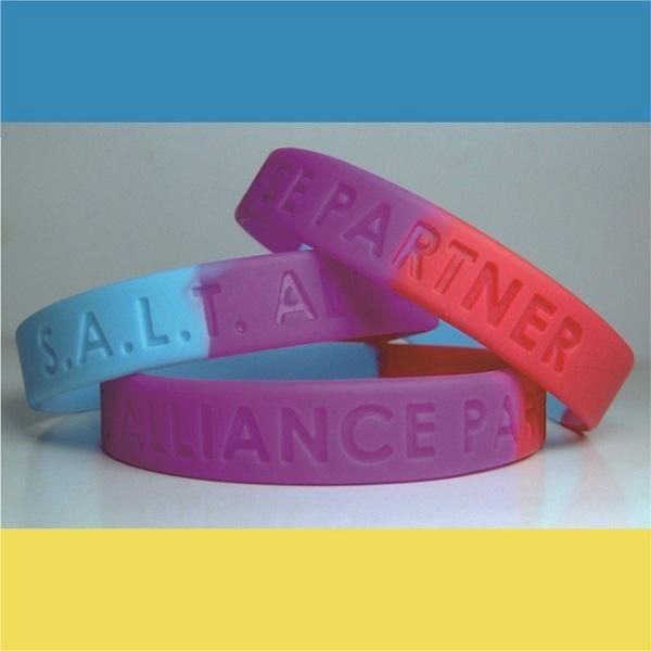 Segmented Color Debossed Silicone Wristbands 1