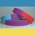 Segmented Color Debossed Silicone Wristbands