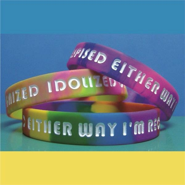 12mm  Ink  Filled Rainbow Silicone Wristbands 1