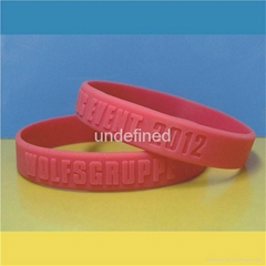 12 mm Embossed and Debossed Silicone Wristbands