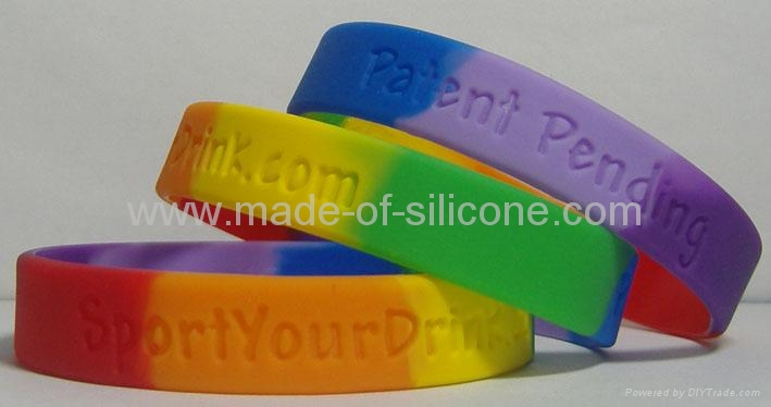 Segmented Color Debossed Silicone Wristbands 5
