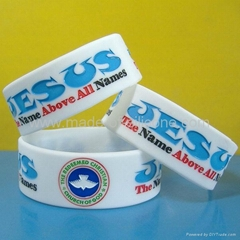 1 inch silicone bracelets with debossed color filled message (Hot Product - 1*)