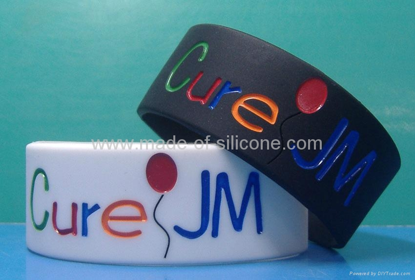 1 inch silicone bracelets with debossed color filled message 5