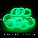 Glow in the dark silicone wristbands , Debossed, embossed, printed.