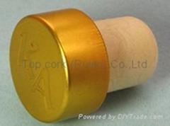 coated aluminium cap cork bottle stopper  TBPC19.4-28.4-20.6-13.7