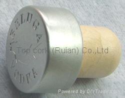 coated aluminium cap cork bottle stopper  TBPC17.7-28.4-21.6-13.7 1