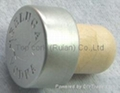 coated aluminium cap cork bottle stopper