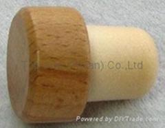 Wooden cap synthetic cork bottle stopper TBW19.5-29.6-20.7-15.1