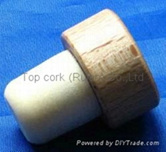 Wooden cap synthetic cork bottle stopper TBW19.3-29-20-15