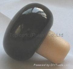 Wooden cap synthetic cork bottle stopper TBW19-black-showpiece