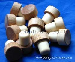 Wooden cap synthetic cork bottle stopper TBW25-45-21-45 3