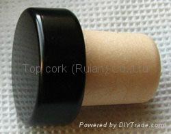 coated aluminium cap cork bottle stopper  TBPC15.3-23.5-17.8-9.3 1