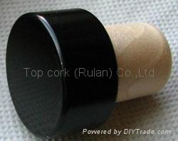 coated aluminium cap cork bottle stopper  TBPC18.2-27.7-20-13.5 1
