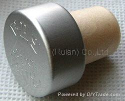 coated aluminium cap cork bottle stopper  TBPC18.2-27.7-20-13.5 4