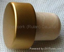 coated aluminium cap cork bottle stopper  TBPC19.3-30.3-20.7-13.8 1