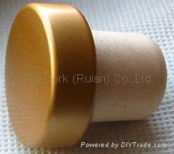coated aluminium cap cork bottle stopper TBPC20.3-31-20.2-10.5 1