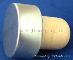 coated aluminium cap cork bottle stopperTBPC19.1-30.4-22.2-13.9-7.8g