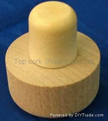 Wooden cap synthetic cork bottle stopper TBW19.2-39.1-20.6-20-20g