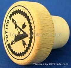 Wooden cap synthetic cork bottle stopper TBW21-33.7-20-10.6-9g
