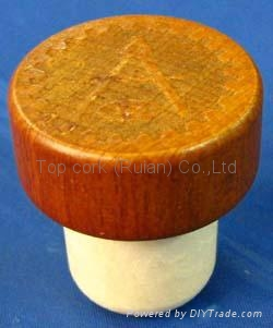 Wooden cap synthetic cork bottle stopper TBW22.3-33-21.7-14.3-12.4g 1
