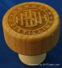 Wooden cap synthetic cork bottle stopper TBW22.3-32.9-21.7-14.3-12.4g