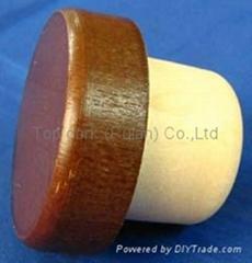 Wooden cap synthetic cork bottle stopper TBW29-42.2-21-12.9-20.5g